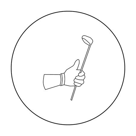 chipping: Holding of a golf club icon in outline style isolated on white background. Golf club symbol stock vector illustration. Illustration