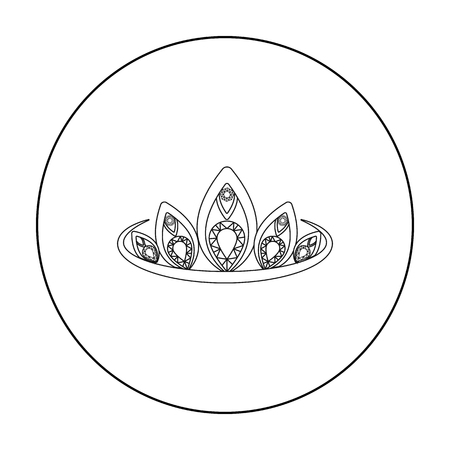 ruby: Diadem icon in outline style isolated on white background. Jewelry and accessories symbol stock vector illustration. Illustration