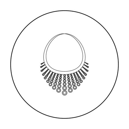 diamond necklace: Necklace with diamond icon in outline style isolated on white background. Jewelry and accessories symbol stock vector illustration.
