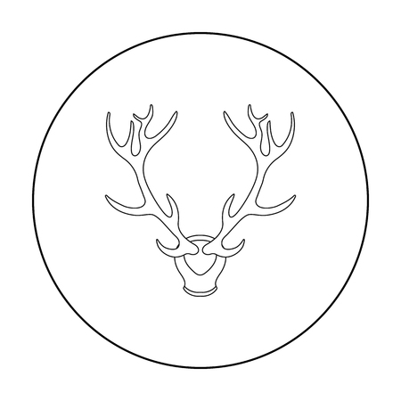 Deer Antlers Horns Icon In Outline Style Isolated On White