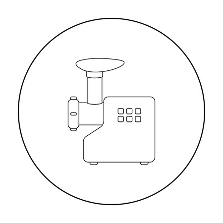Electical meat grinder icon in outline style isolated on white background. Household appliance symbol stock vector illustration. Illustration