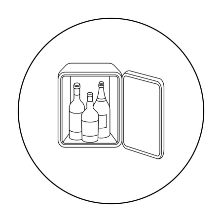 mini bar: Mini bar icon in outline style isolated on white background. Hotel symbol stock vector illustration.