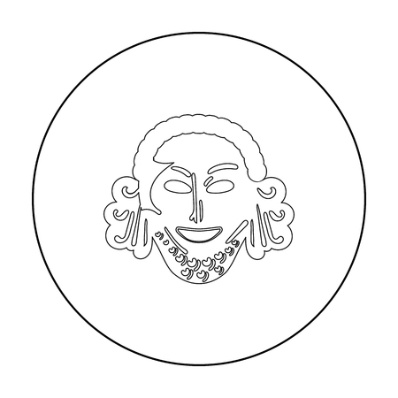 Greek antique mask icon in outline style isolated on white background. Greece symbol stock vector illustration.