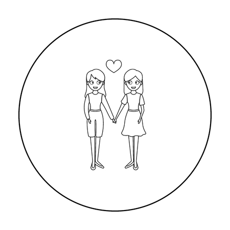 Lesbian icon outline. Single gay icon from the big minority, homosexual outline.