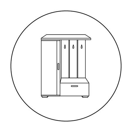 vestibule: Vestibule wardrobe icon in outline style isolated on white background. Furniture and home interior symbol stock vector illustration.