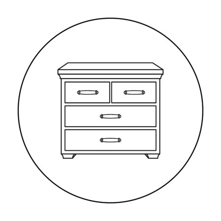 Wooden cabinet with drawers icon in outline style isolated on white background. Furniture and home interior symbol stock vector illustration.