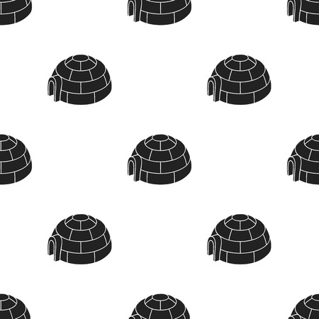 Igloo icon in black style isolated on white background. Ski resort pattern stock vector illustration.