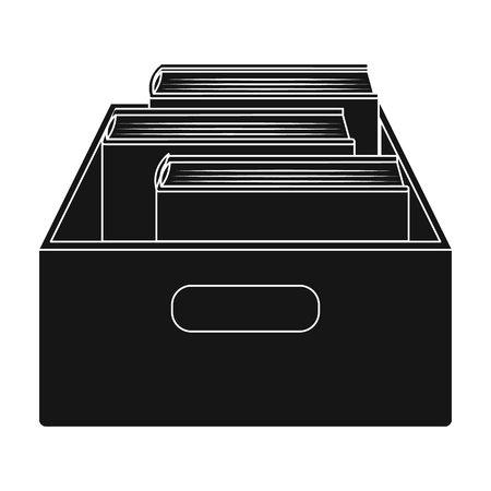 Books in box icon in black style isolated on white background. Library and bookstore symbol stock vector illustration.