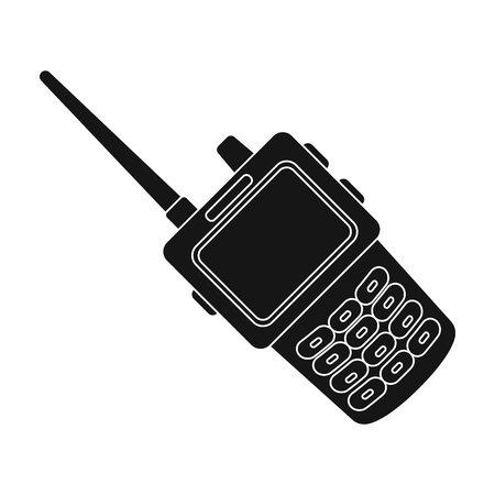 Handheld transceiver icon in black style isolated on white background. Police symbol stock vector illustration.