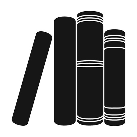 Standing books icon in black style isolated on white background. Books symbol stock vector illustration.
