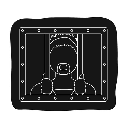 jail cell: Prisoner icon in black style isolated on white background. Police symbol stock vector illustration.