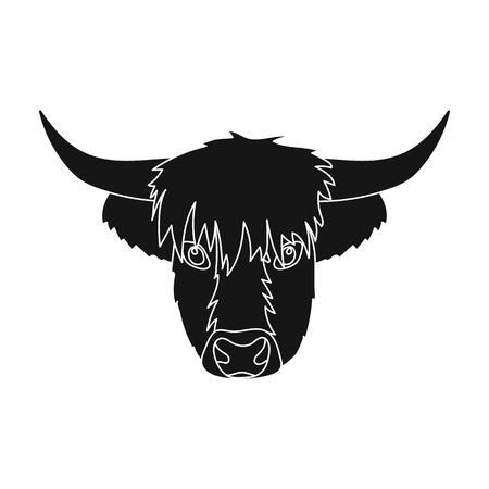 Highland cattle head icon in black style isolated on white background. Scotland country symbol stock vector illustration.