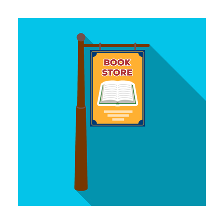 shopfront: Bookstore signage icon in flat style isolated on white background. Library and bookstore symbol stock vector illustration.