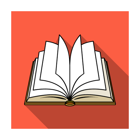Opened book icon in flat style isolated on white background. Books symbol stock vector illustration.