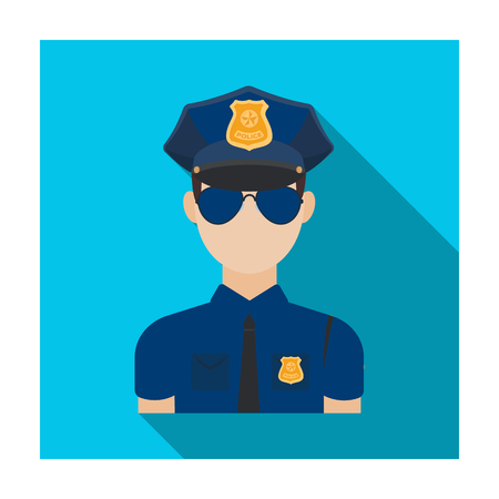 Police officer icon in flat style isolated on white background. Police symbol stock vector illustration.