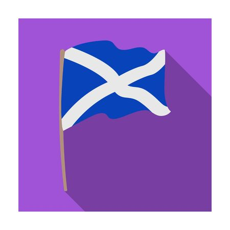 scotish: Flag of Scotland icon in flat style isolated on white background. Scotland country symbol stock vector illustration.