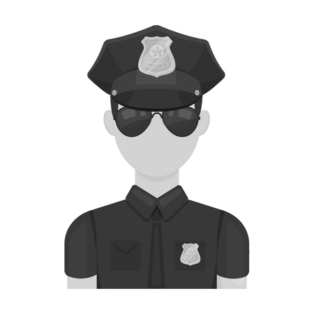 Police officer icon in monochrome style isolated on white background. Police symbol stock vector illustration.