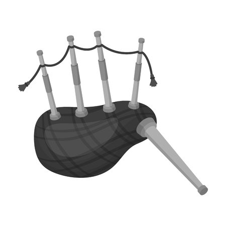 Scottish bagpipes icon in monochrome style isolated on white background. Scotland country symbol stock vector illustration. Illustration