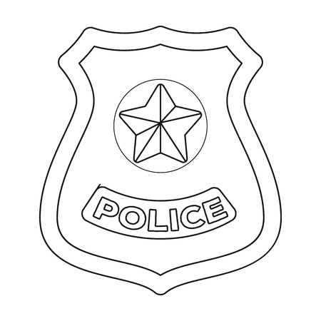 bage: Police badge icon in outline style isolated on white background. Police symbol stock vector illustration.
