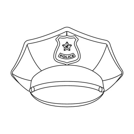 peak hat: Police cap icon in outline style isolated on white background. Police symbol stock vector illustration.