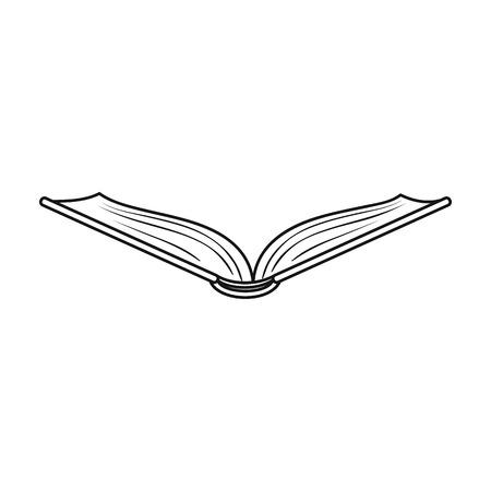 read magazine: Opened book icon in outline style isolated on white background. Books symbol stock vector illustration.