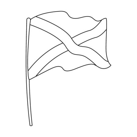 Flag of Scotland icon in outline style isolated on white background. Scotland country symbol stock vector illustration. Illustration