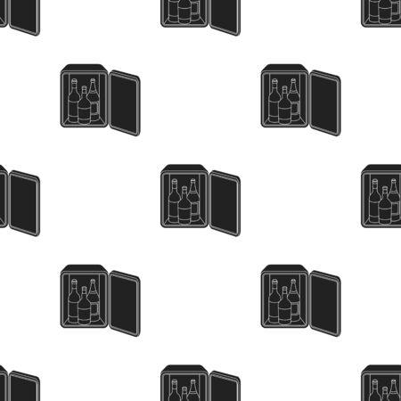 minibar: Mini-bar icon in black style isolated on white background. Hotel pattern illustration.