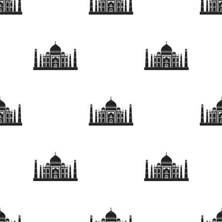 jehan: Taj Mahal icon in black style isolated on white background. India pattern illustration.