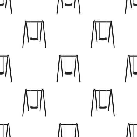 amusement park black and white: Swing seat icon in black style isolated on white background. Park pattern illustration.