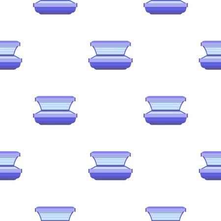Icono de cama de bronceado en estilo de dibujos animados aislado sobre fondo blanco. Ilustración del patrón del cuidado de piel.