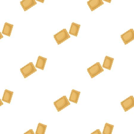 Ravioli pasta icon in cartoon style isolated on white background. Types of pasta pattern stock vector illustration. Illustration