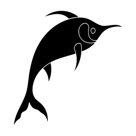 billfish: Marlin fish icon in black style isolated on white background. Sea animals symbol stock vector illustration. Illustration