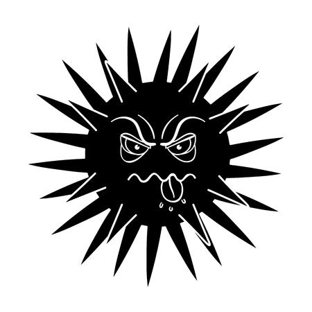 Green virus icon in black design isolated on white background. Viruses and bacteria symbol stock illustration.