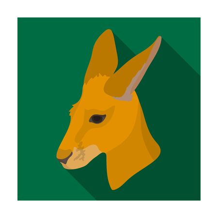 joey: Kangaroo icon in flat design isolated on white background. Realistic animals symbol stock illustration.