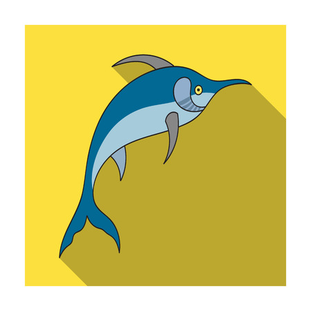 billfish: Marlin fish icon in flat design isolated on white background. Sea animals symbol stock illustration.