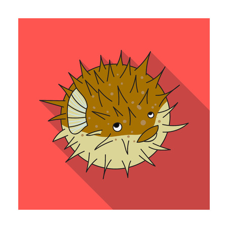 porcupine: Porcupine fish icon in flat design isolated on white background. Sea animals symbol stock illustration.