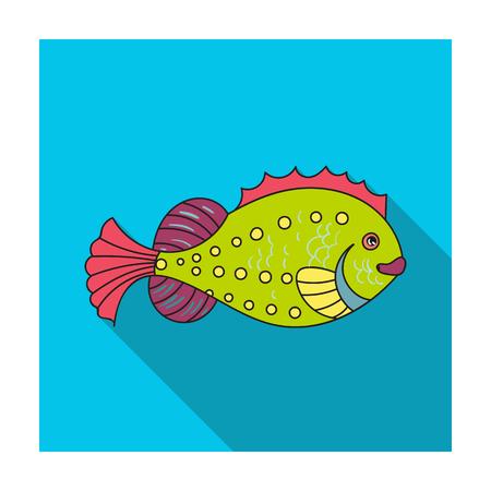 mackerel: Sea fish icon in flat design isolated on white background. Sea animals symbol stock illustration. Illustration
