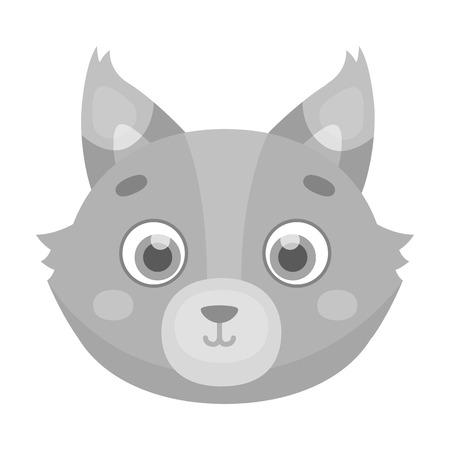 Wolf muzzle icon in monochrome style isolated on white background. Animal muzzle symbol stock vector illustration. Иллюстрация