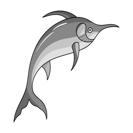 billfish: Marlin fish icon in monochrome style isolated on white background.