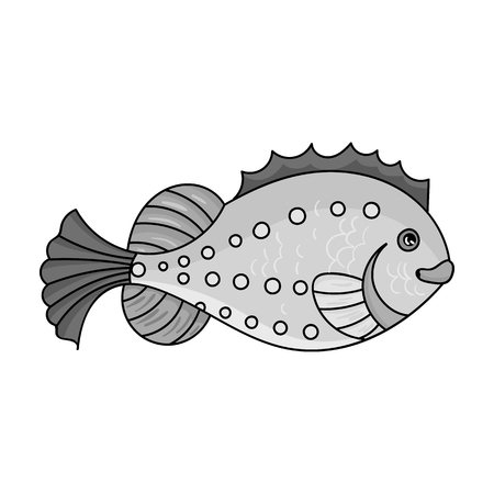 Sea fish icon in monochrome style isolated on white background. Sea animals symbol stock vector illustration.