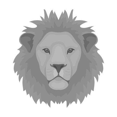 icono de león en estilo monocromático aislado sobre fondo blanco. animales símbolo ilustración stock realista del vector.