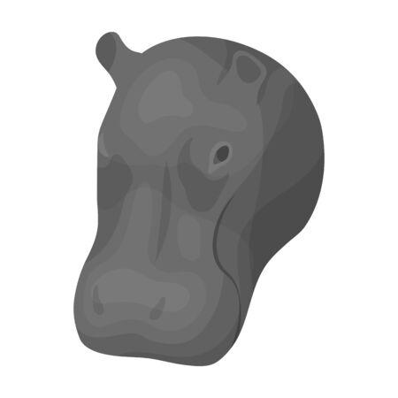 Hippopotamus icon in monochrome style isolated on white background. Realistic animals symbol stock vector illustration. Иллюстрация