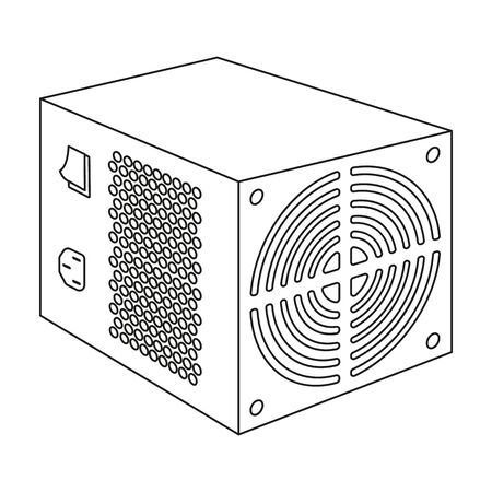 power supply unit: Power supply unit icon in outline style isolated on white background. Personal computer accessories symbol stock vector illustration. Illustration
