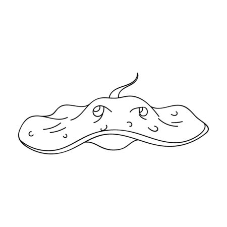 Stingray icon in outline design isolated on white background. Sea animals symbol stock illustration.