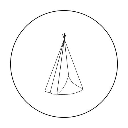 Wigwam icon outline. Singe western icon from the wild west outline. stock