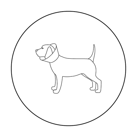 Dog with elizabethan collar icon in outline style isolated on white background. Veterinary clinic symbol stock vector illustration.