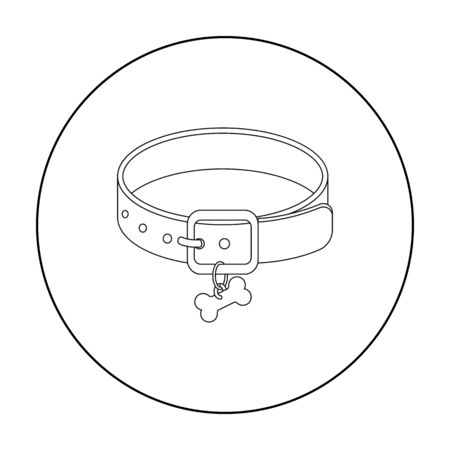Dog collar icon in outline style isolated on white background. Veterinary clinic symbol stock vector illustration.