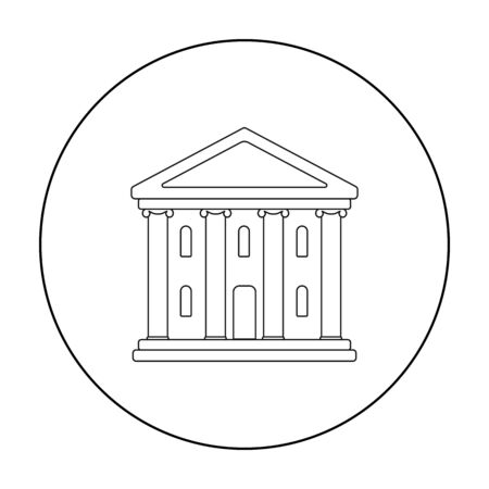 classical theater: Theatre building icon in outline style isolated on white background. Theater symbol stock vector illustration Illustration
