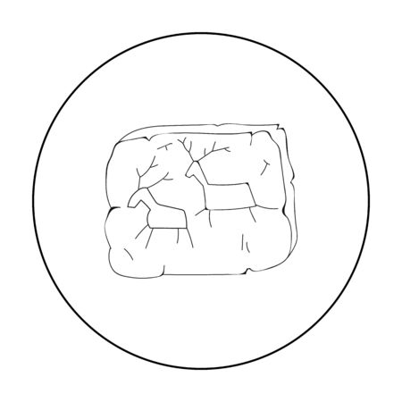 ?ave painting icon in outline style isolated on white background. Stone age symbol stock vector illustration.