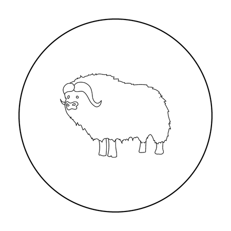 Muskox of stone age icon in outline style isolated on white background. Stone age symbol stock vector illustration.